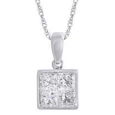Brand new 0.75ct princess cut 'invisbility' styled diamond pendant set in 18kt white gold with an 18 inch trace chain, GH colour and SI clarity.