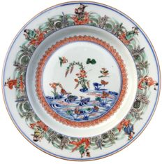 "Famille verte ""mandarin ducks"" large dish - China - ca. 1700 ( Kangxi period )"