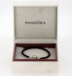 Pandora - Solid 925 Silver and Leather Bracelet, c.1998 - Length : 18