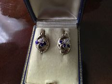 Victorian 1830/40 enamelled gold earrings