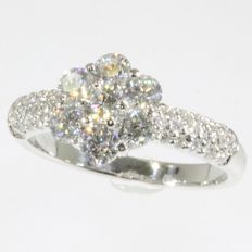 18k White gold diamond engagement ring - 1.50 ct - size 53