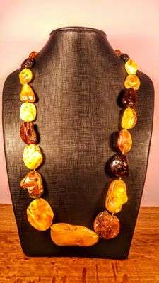 Long Genuine Baltic amber multicolour necklace, Italian style, 141 grams