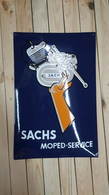 Zwaar emaille bord SACHS moped-service
