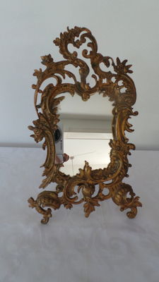 Bronze-plated mirror or picture frame in Baroque style - ca. 1880