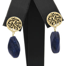 Earrings with yellow gold floral designs and wrought lapis lazuli gemstones. No reserve price.