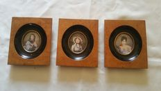 Set of three miniature portraits - hand-painted - early 20th century