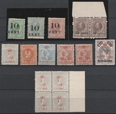Suriname 1898/1911 - Selection of overprints including variations - NVPH 31f/33f, 37 and 60/64