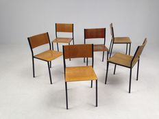 Industrial design, set of six stackable old school chairs