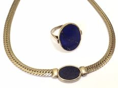 Silver necklace and ring with lapis lazuli