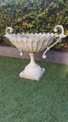 Large aluminium garden chalice / jardinière with ornate ears