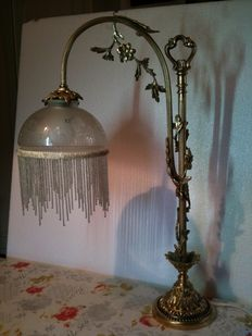 Original table lamp, made of brass and signed glass - Italy, 1930s