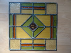 2 x Hand crafted stained glass window, Jugendstil