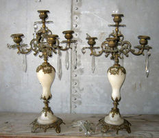 Baroque gilded bronze and alabaster candlesticks - southern Italy - ca. 1890