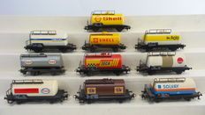 Märklin H0 - 4441/4442/4443/4444/4447/4449/4501/4502/4532/4560 - 10-piece tank carriage set of the DB