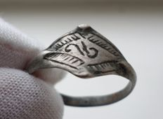Early medieval silver Viking ring - 21 mm