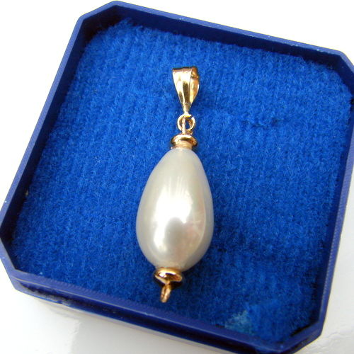 Yelow golg 585 (14 ct)pendant and pearls Sheashell 15 mm/8mm - long  30 mm