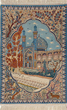 OLD ISFAHAN -FINE -Handknotted/Persian/ORIENTAL/ - The Mosque of Isfahan -Carpet  156 x 102 IRAN Around 1950
