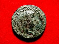 Roman empire - Nero (54 - 68 A.D.) bronze as ( 11,33 g.  28 mm.) from Rome mint. S - C, Victory flying left, holding shield inscribed S P Q R.