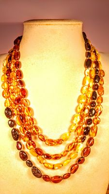 Long Genuine Baltic amber multi colour necklace, 52 grams