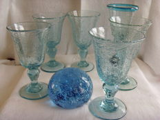 La Verrerie de BIOT-France - wine glass 5 x + 1 x matching mouth-blown wine glass - France + paperweight - BIOT
