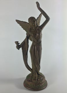 """The Winged Woman"", Art Nouveau style cast iron sculpture, France, late 20th century"