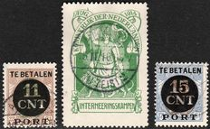 The Netherlands 1916/1924 – Internment stamp and Parcel-transfer stamps – NVPH IN1 + PV1/2