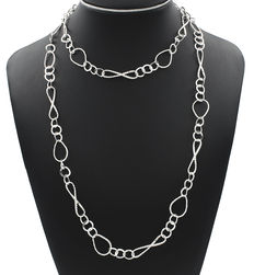 Sterling silver choker with loops and oval motifs.