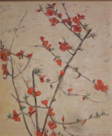 "Eleni Kolokotroni-Mania (1911 - 1965) - Chaenomeles superba ""Crimson and Gold"""