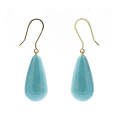 Yellow gold earrings with pear-shaped turquoises. No reserve price.
