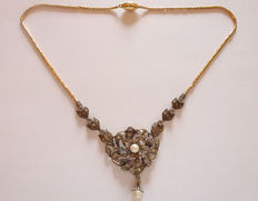 Antique necklace - 585 gold and 925 silver - pearls and diamonds - 1890-1900