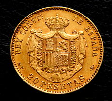 Spain – Alfonso XIII – 20 Pesetas – 1889 – Madrid MPM – Gold
