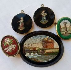 Souvenirs of the Grand Tour: 5x micromosaic tiles - Italy, second half of the 19th C