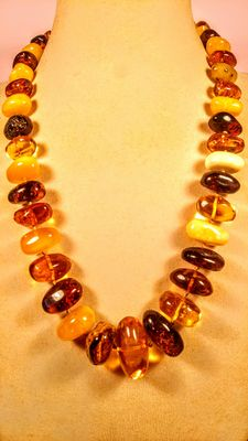 Genuine Baltic amber multicolour necklace, 86 grams