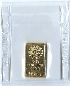 Gold bar of 10 grams fine gold 999.9