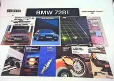 Car folders, brochures and registration plate of the BMW 7 series from the 80s and lithograph by Eric Jan Kremer
