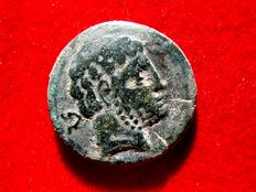 Ancient Hispania – Bronze as (8.07 g, 24 mm) of Beligiom (Celtiberian city in the north of Spain, Belchite-Zaragoza), minted in the 2nd century B.C. Horse rider with lance on reverse.