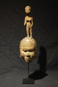 Encrusted Seldom Lagoon Mask- ATTIE/EBRIE/YAOURE -Ivory Coast