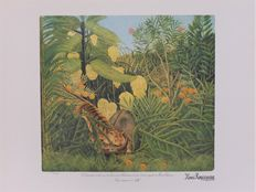 Henri Rousseau (after) - Tigre attaquant un buffle + La charmeuse de serpent + Le repas du lion