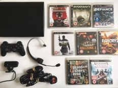Sony PS3 Super Slim 500GB , Controller , Wireless Headset , Camera and 8  Games