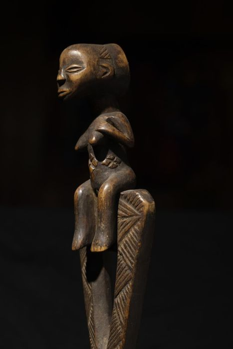 Ceremonial Staff-Seated Female Finial Kibango - LUBA - Congo-D.R.C.