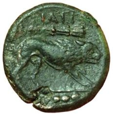 Greek Antiquity - Italy, Northern Apulia, Teate - AE Quadrunx (24 mm, 12,61 g.), c. 225-200 BC - Head Herakles / Lion - SNG ANS 753