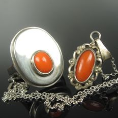 Precious coral silver ring and pendant Germany - 60s