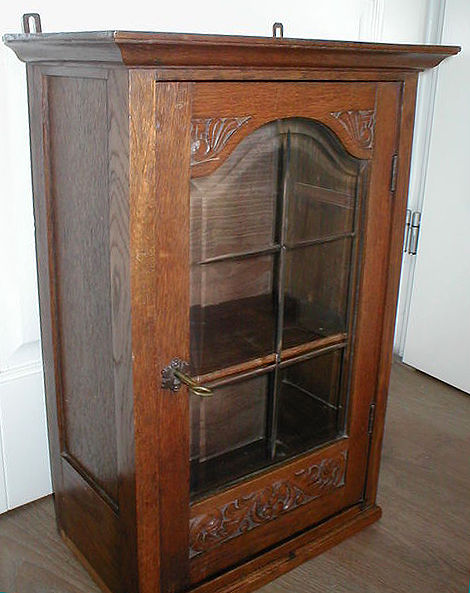 Antique Art Nouveau Oak French Display Cabinet Wall Cabinet Hanging Cabinet,  Ca. 1900