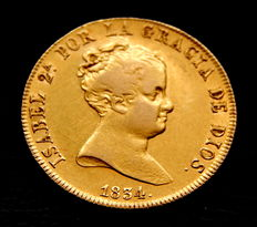 Spain – Elizabeth II – 80 reales – 1834 – Madrid CR – gold