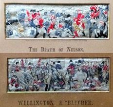 Two rare Stevengraphs stevengraph - silk woven pictures picture  - The Death of Nelson and Wellington and Blücher meeting after the battle of Waterloo - England UK -  c 1889 - 1900