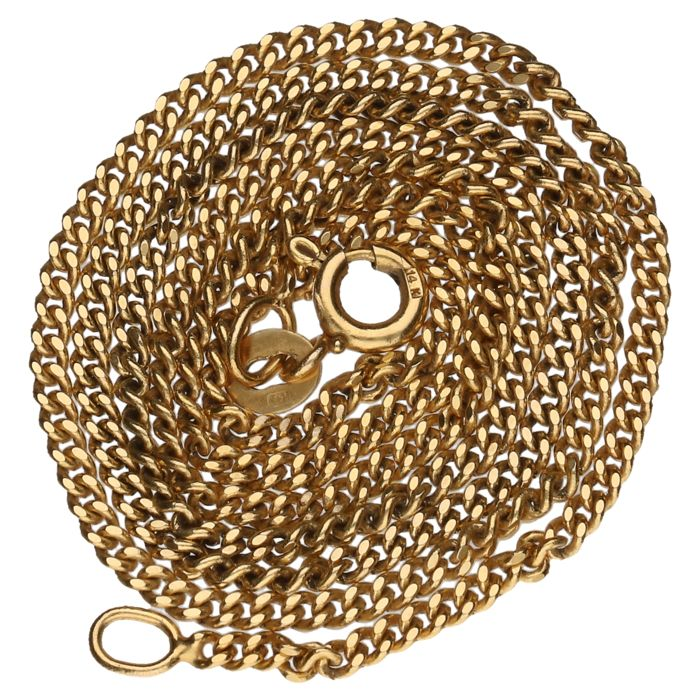 Yellow gold curb link necklace, 14 kt - 45.5 cm