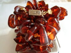Natural Baltic Amber Necklace with 925 silver clasp,  - Length: 87 cm