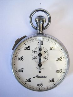 MINERVA PATENT – pocket watch chronograph - one hand stop watch - 1/100 minute and minute - circa 1960