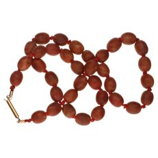 Soapstone  necklace with beads and yellow gold clasp.