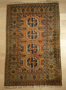 Beautiful HAND-KNOTTED  Nomadic Afghan  Waziri rug c. 1930-40s  195x130 cm in EXCELLENT CONDITION